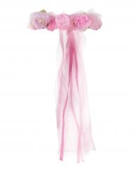 Roze prinses bloemenkrans voor meisjes