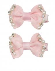 2 roze haarspelden met kralen voor meisjes