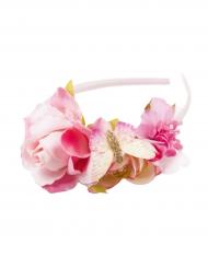 Roze bloemenkrans haarband voor meisjes