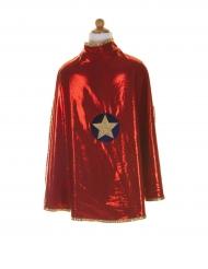 Omkeerbare rode en goudkleurige superheldin cape voor meisjes