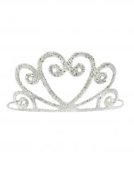 Zilverkleurige glimmende tiara voor meisjes