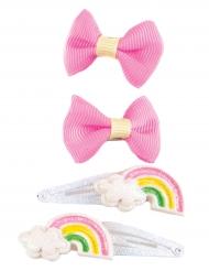 4 roze strikjes en regenboog haarspelden voor meisjes
