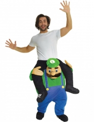 Morphsuits™ op de rug van een groene loodgieter kostuum voor volwassenen