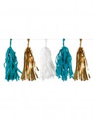 Blauwe, goudkleurige en witte franje slinger
