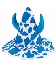Blauwe en witte gevlekte hoed met hoorns