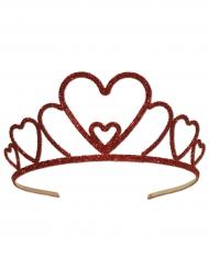 Rode metalen glitter kroon voor volwassenen