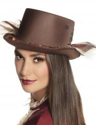 Steampunk hoge hoed met sluier voor volwassenen