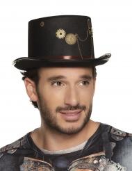 Zwarte Steampunk hoge hoed met tandwielen voor volwassenen
