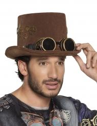 Bruine Steampunk hoge hoed met tandwielen voor volwassenen
