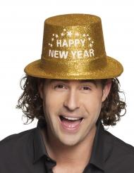 Gouden glitterhoed Happy New Year voor volwassenen