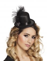 Zwart mini hoedje met veren voor volwassenen