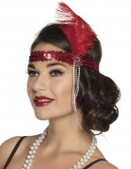 Rode charleston hoofdband voor volwassenen