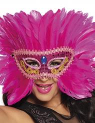 Venetiaans masker met roze veren voor vrouwen