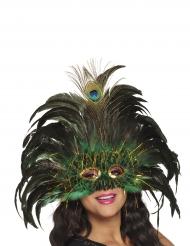Venetiaans pauw masker met veren voor volwassenen