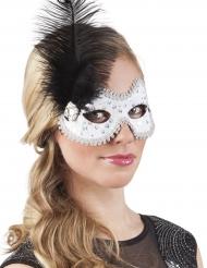 Venetiaans masker met veren en strass voor vrouwen