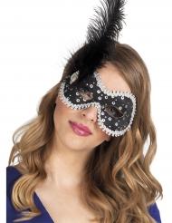 Zwart Venetiaans masker met veren en strass voor vrouwen