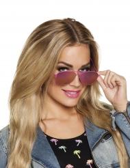Vliegenier bril met roze frame voor volwassenen