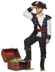 Piraten kapitein kostuum met blauwe nepjas voor kinderen