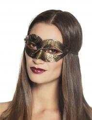 Steampunk masker met goudkleurige tandwielen voor vrouwen