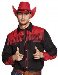 Zwarte en rode cowboy blouse met franjes voor volwassenen