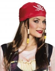 Piratenpruik en rode bandana voor vrouwen