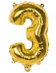 Goudkleurige aluminium cijfer 3 ballon