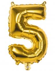 Goudkleurige aluminium cijfer 5 ballon