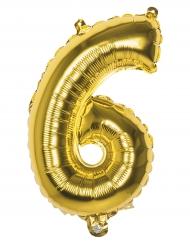Goudkleurige aluminium cijfer 6 ballon