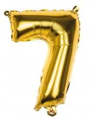 Goudkleurige aluminium cijfer 7 ballon