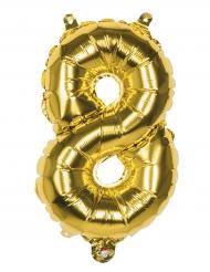 Goudkleurige cijfer ballon 8