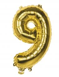 Goudkleurige cijfer ballon 9