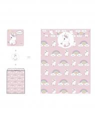 8 baby eenhoorn uitnodigingen en stickers