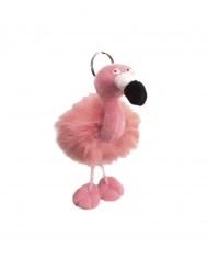 Pluche roze flamingo sleutelhanger