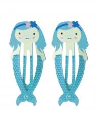 2 blauwe zeemeermin haarspelden