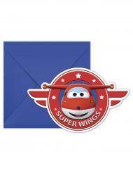 6 Super Wings™ uitnodigingen met enveloppen