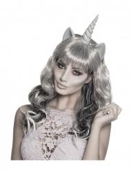 Zilverkleurige spook eenhoorn pruik voor vrouwen