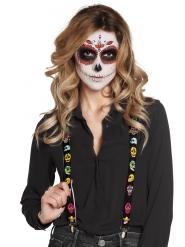 Zwarte bretels met Mexicaanse skeletten voor volwassenen
