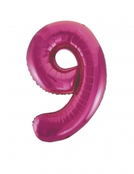 Fuchsia aluminium cijfer 9 ballon