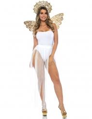 Goudkleurige engel vleugels en halo voor volwassenen
