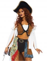 Sexy bruin extravagant piraten kostuum voor dames
