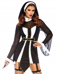 Sexy zwart en wit religieus kostuum voor dames