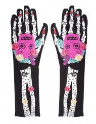 Kleurrijke Dia de los Muertos skelet handschoenen voor vrouwen
