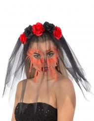 Haarband met rozen en bloederige sluier voor vrouwen