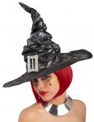 Zwarte heksenhoed met gesp voor vrouwen