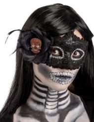 Zwart plastic Dia de los Muertos masker voor vrouwen