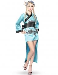 Blauw kimono kostuum voor vrouwen