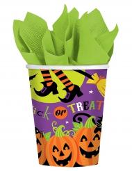 8 kartonnen en kleurrijke Halloween bekers