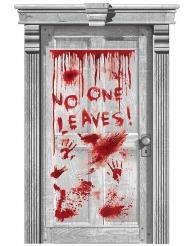 Bloederige handafdrukken deurdecoratie