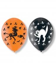 6 latex katten en heksen ballonnen