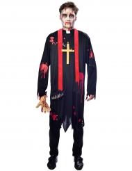 Zwart met rood zombie priester kostuum voor mannen